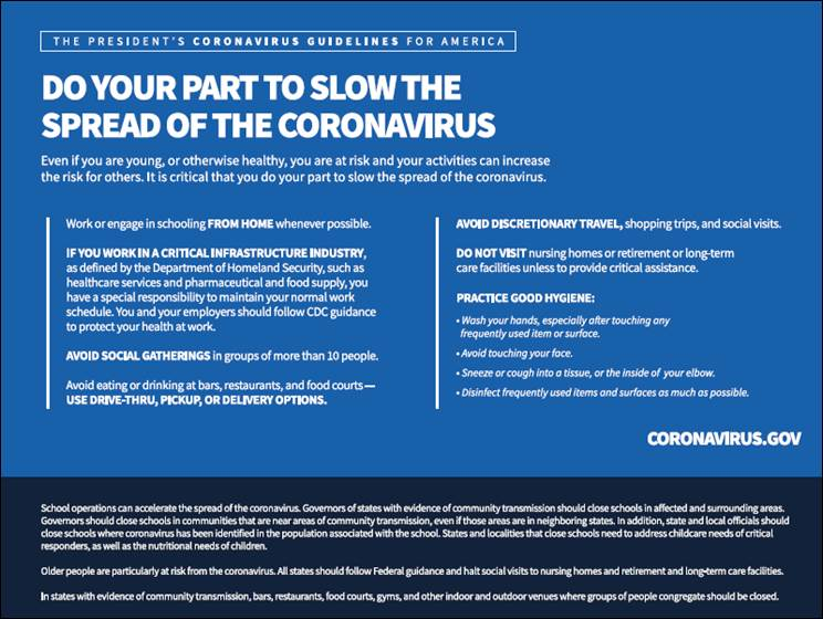 The President's Coronavirus Guidlelines for America: Do Your Part to Slow the Spread of Coronavirus